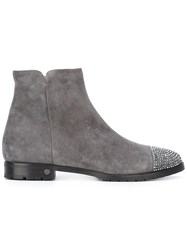 Le Silla Embellished Cap Ankle Boots Grey