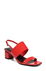 Via Spiga Forte Block Heel Sandal Hot Orange Leather