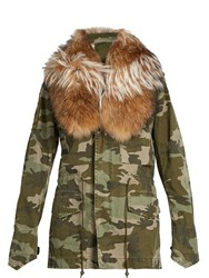 Mr And Mrs Italy Detached Fur Collar Camouflage Print Parka Khaki