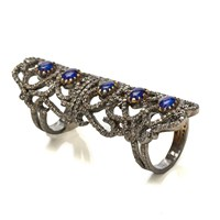 Nush Articulated Diamond And Sapphire Ring Blue