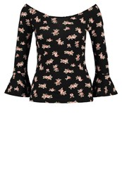 Bik Bok Long Sleeved Top Black Mottled Black