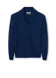 Mango Chunky Knit Wool Blend Cardigan Navy