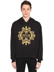 Versace Logo Embroidered Cotton Jersey Hoodie Black