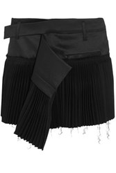 Haider Ackermann Pleated Wool Blend And Twill Mini Skirt Black