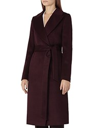 Reiss Forley Belted Long Coat Plum