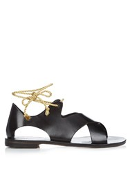 Alvaro Aida Leather Sandals Black Gold