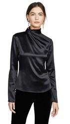 Brandon Maxwell Draped Neck Satin Blouse W Sleeves Black