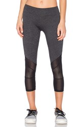 Lanston Sport Mesh Combo Crop Leggings Charcoal