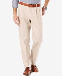 Dockers Men's Signature Classic Fit Khaki Pleated Stretch Pants Cloud