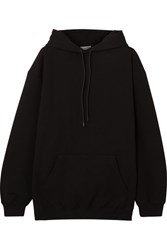 Balenciaga Oversized Printed Cotton Jersey Hooded Top Black Gbp