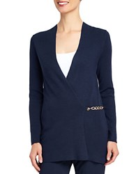 Ellen Tracy Chain Accented Cardigan Navy