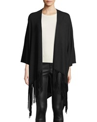 Emporio Armani Open Front Wool Blend Cape W Suede Fringe Trim Black