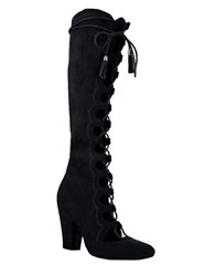 Mia Evelina Suede Lace Up Knee High Boots Black