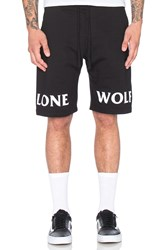 Raised By Wolves Lone Wolf Sweatshorts Black And White