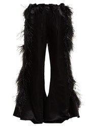 Marques Almeida Feather Embellished Kick Flare Satin Trousers Black