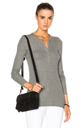 Atm Anthony Thomas Melillo Micro Modal Rib Henley Tee In Gray