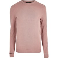River Island Mens Light Pink Knit Mesh Panel Jumper