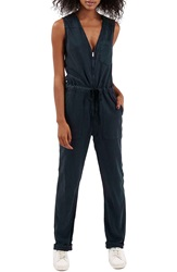 Topshop Sleeveless Zip Front Jumpsuit Navy Blue