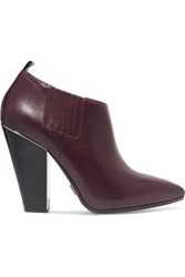 Michael Kors Collection Lacy Leather Ankle Boots Burgundy