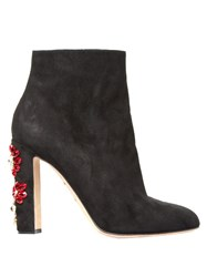 Dolce And Gabbana Floral Embellished Suede Boots Black Multi