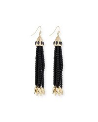 Lulu Frost Beaded Black Tassel Drop Earrings