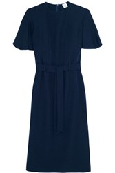 Iris And Ink Belted Crepe Dress Navy