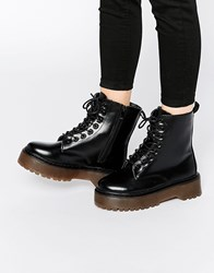 Dolcis Chunky Flatform Heel Lace Up Boots Black Pu