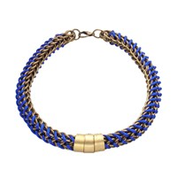 Mamazoo Chain Silk Weave Necklace Blue