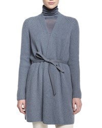 Loro Piana Draped Front Belted Cardigan Women's Seabed Melange