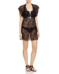 Becca By Rebecca Virtue Amore Lace Tunic Swim Cover Up Black