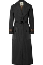Fendi Belted Jacquard And Leather Trimmed Gabardine Trench Coat Black