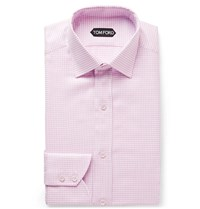 Tom Ford Pink Slim Fit Cutaway Collar Houndstooth Cotton Shirt Pink