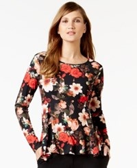 Cece By Cynthia Steffe Floral Print Long Sleeve Top Rich Black