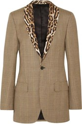 R 13 R13 Leopard Print Voile Trimmed Prince Of Wales Checked Wool Blazer Brown