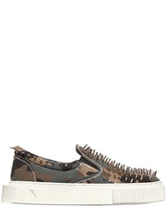 Gienchi Spiked Camo Ripstop Slip On Sneakers
