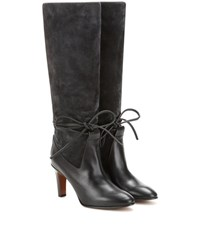 Chloe Suede And Leather Knee Boots Grey