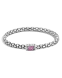 John Hardy Sterling Silver Dot Lava Medium Slim Chain Bracelet With Pink Sapphire Pink Silver