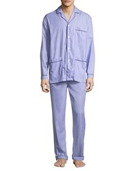 Neiman Marcus Two Piece Contrast Piped Pajama Set Light Blue