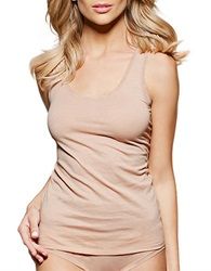 Fine Lines Pure Cotton Wide Strap Rounded Neck Camisole Skin