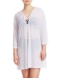 J Valdi Plus Lace Up Cover Up White