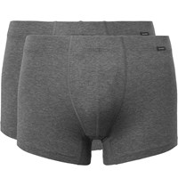 Hanro Two Pack Stretch Cotton Boxer Briefs Gray