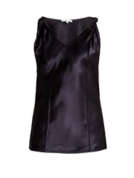 Helmut Lang Twisted Knot Satin Top Navy