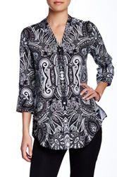 Paperwhite Collections 3 4 Length Sleeve Linen Tunic Blouse Black