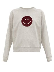 Bella Freud Happy Flocked Smiley Face Cotton Sweatshirt Grey Multi