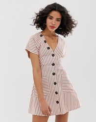 Moon River Stripe Skater Dress With Bow Front Red