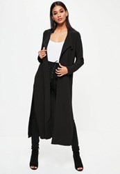 Missguided Black Long Sleeve D Ring Detail Maxi Duster Coat