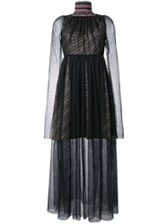 Katharine Hamnett Beaded Neck Sheer Dress Black