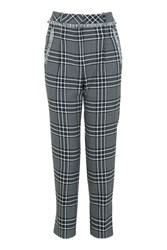 Topshop Check Tapered Peg Trousers Monochrome