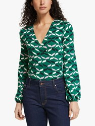Boden Elodie V Neck Wrap Top Forest Ribbons