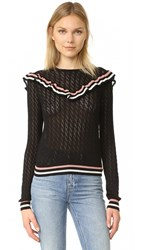 Red Valentino Ruffle Overlay Sweater Black Cream Powder